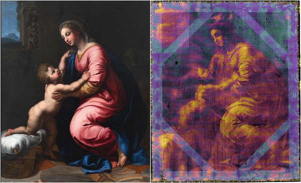 InsightART Madonna and Child optical and X ray images