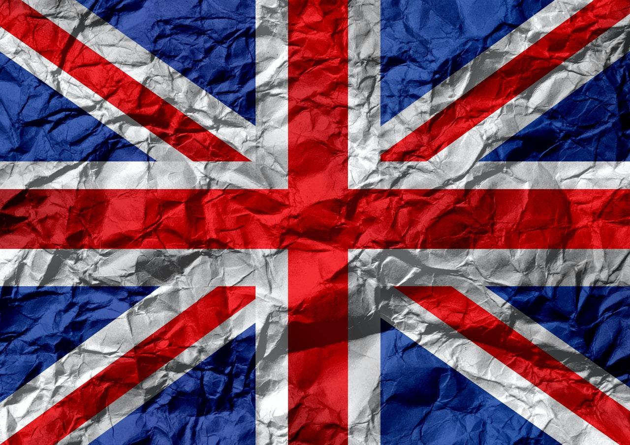 uk flag on creased paper 968299